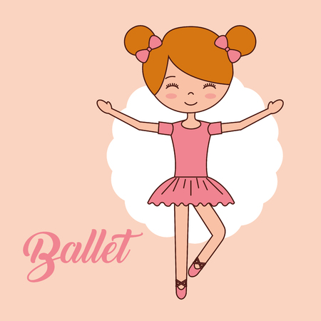 beautiful ballerina ballet girl standing hands up smiling vector illustration 写真素材