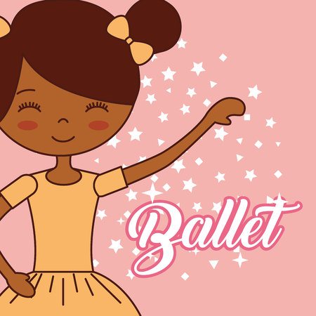 beautiful ballerina ballet cute girl hand up dancer stars vector illustration
