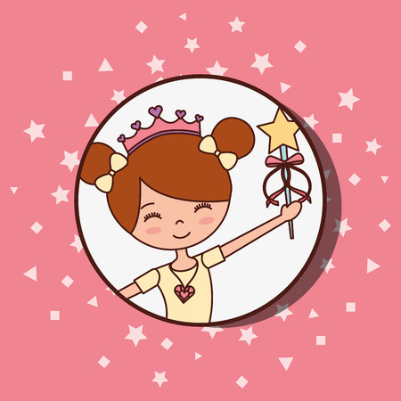 beautiful ballerina ballet smiling holding magic wand star vector illustration Stock Photo