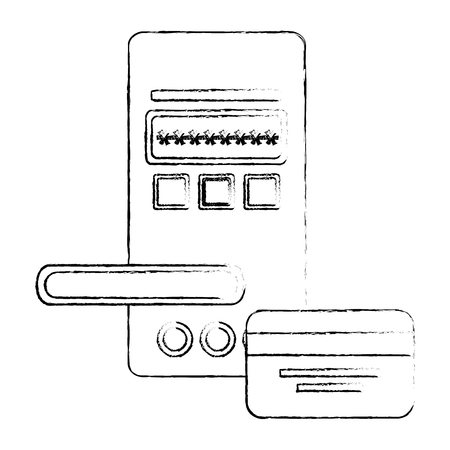 access digital door panel with credit card vector illustration design