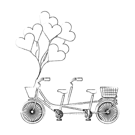retro tandem bicycle with balloons helium vector illustration design 向量圖像