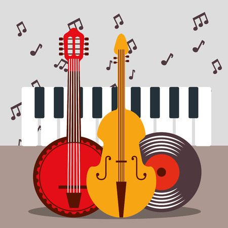 jazz festival instruments disk piano keys banjo cello vector illustration