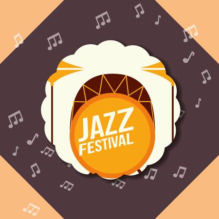 jazz festival instruments figures music notes background labels drums sign vector illustration