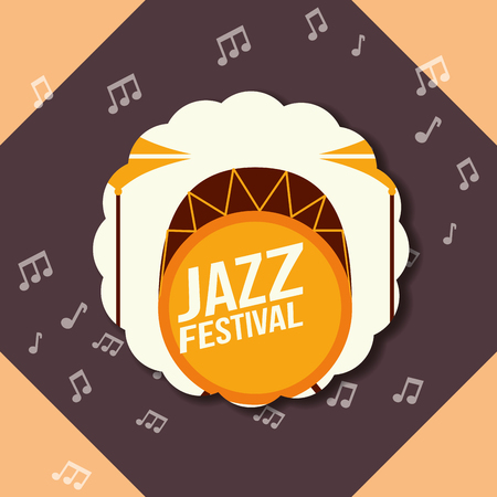 jazz festival instruments figures music notes background labels drums sign vector illustration
