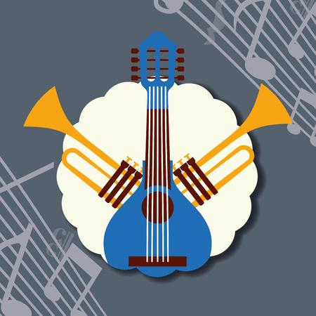 jazz festival instruments label music notes blue banjo trumpets vector illustration