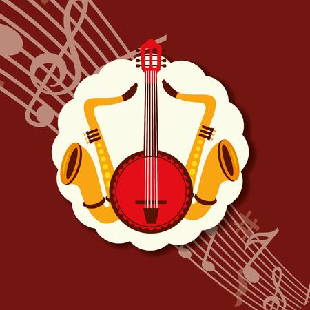 jazz festival instruments red notes music label saxophones banjo vector illustration