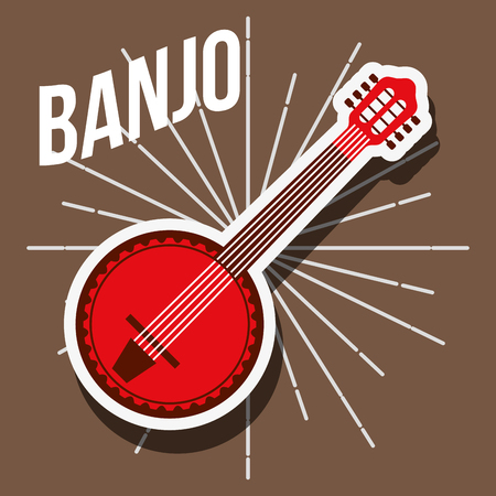 jazz festival instruments red banjo grunge style vector illustration Stock Illustratie