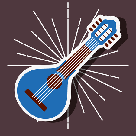 jazz festival instruments blue banjo vector illustration