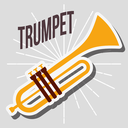 jazz festival instruments trumpet music play vector illustration  イラスト・ベクター素材