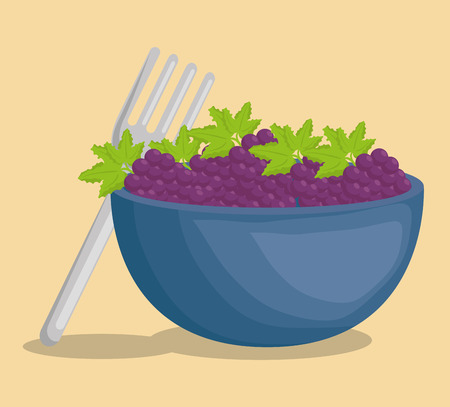 bowl with grapes fruits vector illustration design