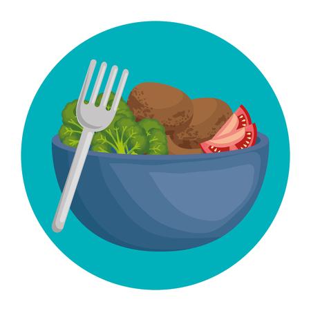 bowl with fresh vegetables vector illustration design