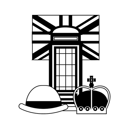 classic british telephone booth with flag and set icons vector illustration design Stock Illustratie