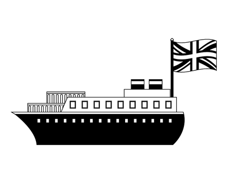 ship boat with flag of great britain vector illustration design
