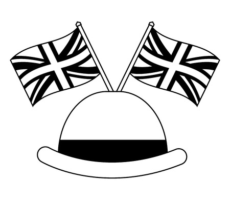 gentleman hat with flags of great britain vector illustration design