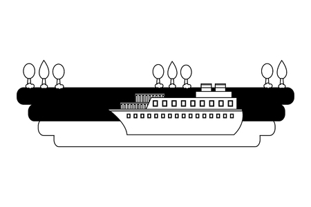 ship boat in sea with landscape vector illustration design
