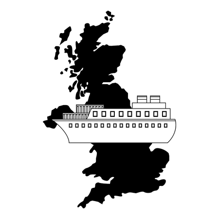 united kingdom map container ship shipping vector illustration