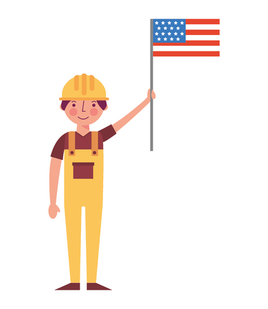 worker contruction holding american flag labor day vector illustration