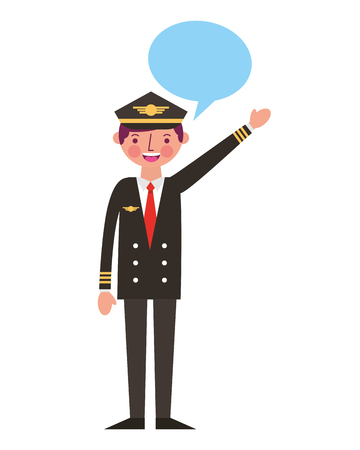 commercial airplane pilot in uniform speech bubble vector illustration