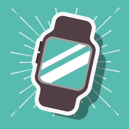 nfc payment technology wristwatch blue background vector illustration