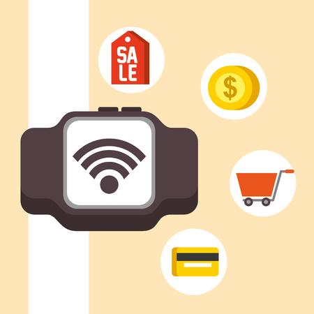 nfc payment technology wristwatch signal sale coin shopping cart vector illustration Imagens - 105274091