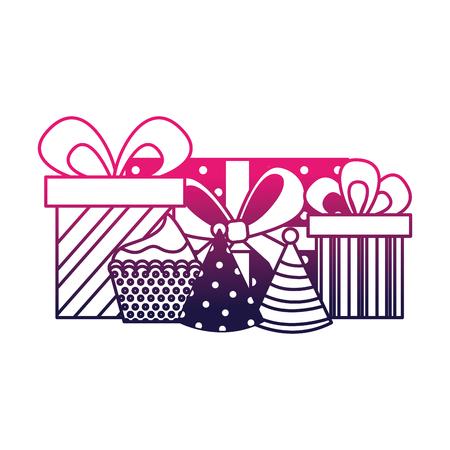 birthday cupcake gifts wrapped ribbon celebration vector illustration