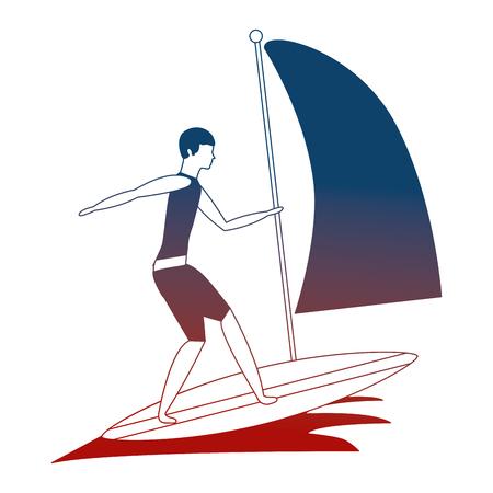 man practicing windsurfing sport in ocean vector illustration neon