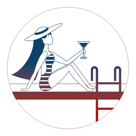 girl on the edge of the pool with a cocktail in her hand vector illustration neon