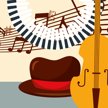 jazz festival hat piano keys cello instruments music  notes vector illustration Illustration
