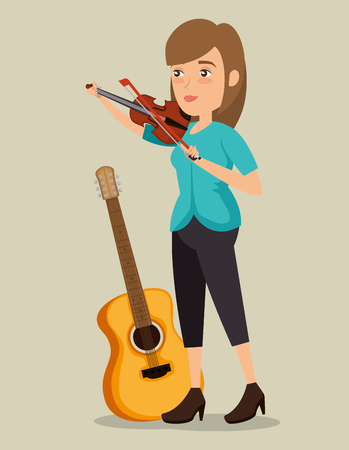 musician woman in concert vector illustration design Ilustrace
