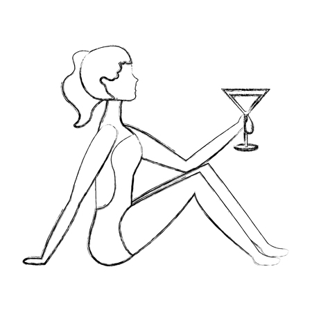 happy woman in swimsuit with cocktail vector illustration