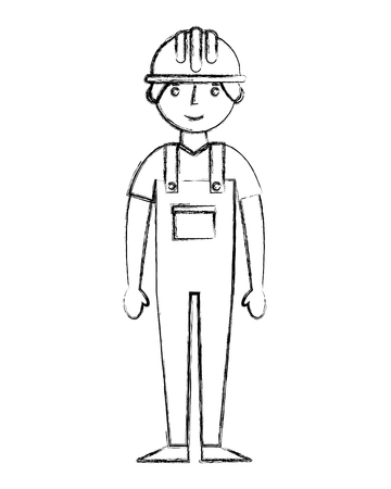 construction builder avatar character vector illustration design