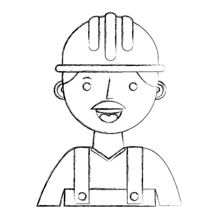 construction builder avatar character vector illustration design Illustration