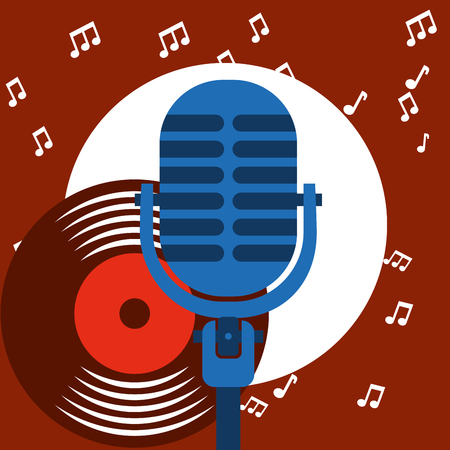 jazz festival blue microphone disk play music circle vector illustration  イラスト・ベクター素材