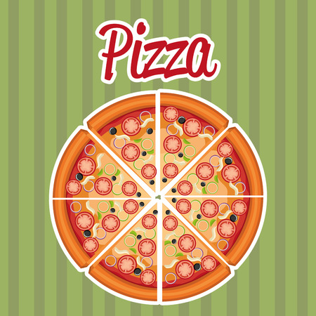 delicious italian pizza label vector illustration design Banco de Imagens - 105234821