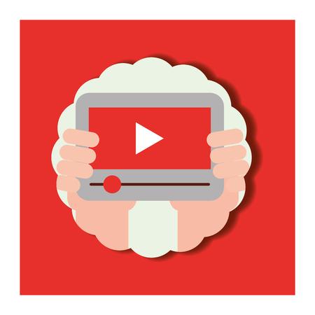 news communication label hand holding tablet play videos vector illustration