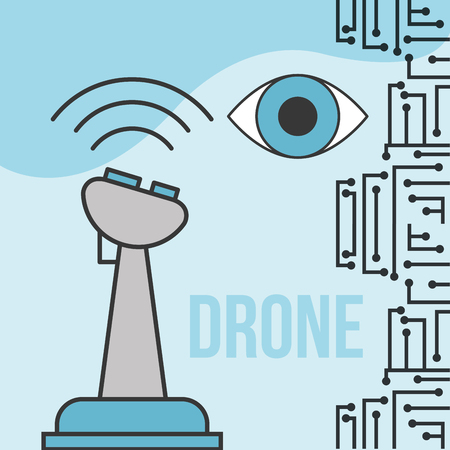 drone technology futuristic circuit surveillance eye control vector illustration