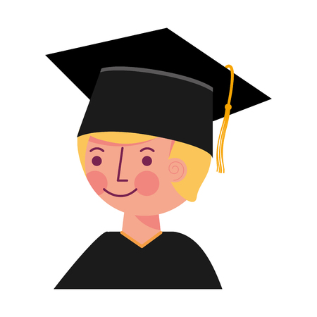 school boy in graduation clothes and hat vector illustration