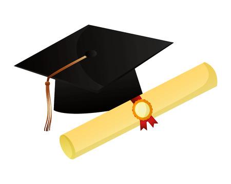 chapeau de graduation et certificat de défilement illustration vectorielle de succès