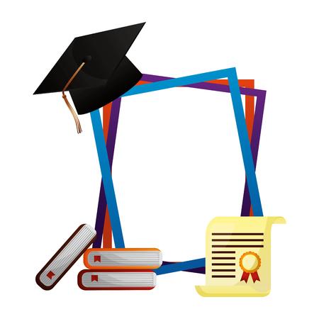graduation hat books certificate frames vector illustration