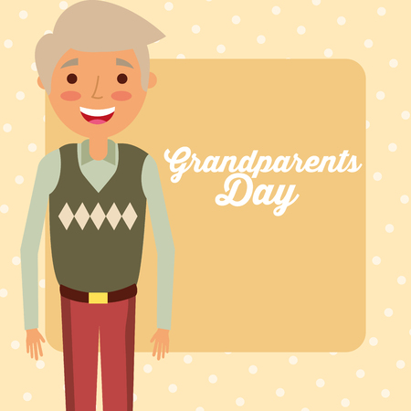 grandparents day happy grandfather with belt vector illustration Illustration