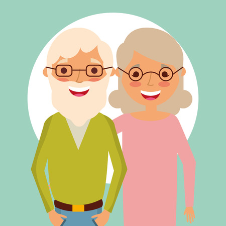 grandparents day old couple embraced smiling old grandfather with white beard using glasses vector illustration Illustration