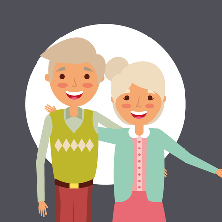 grandparents day smiling old couple colors clothe vector illustration Ilustrace