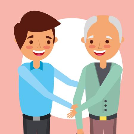 grandparents day smiling nephew holding hands grandfather vector illustration Illustration