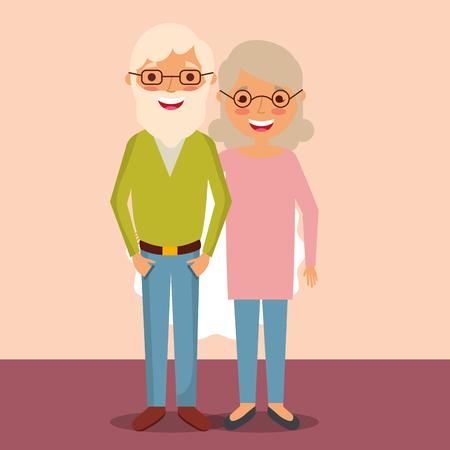 grandparents day older couple smiling room vector illustration