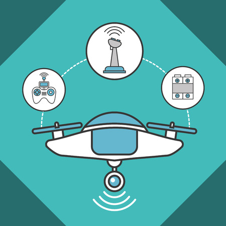 drone technology futuristic devices connection battery control vector illustration Stockfoto