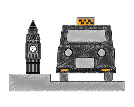 big ben tower british with classic taxi vector illustration design