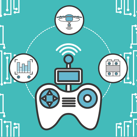 drone technology futuristic connection stickers control game focus battery vector illustration