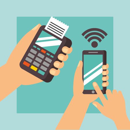 nfc payment technology hands holding dataphone smartphone signal vector illustration