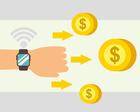 nfc payment coins hand wristwatch arrows vector illustration Stock Photo