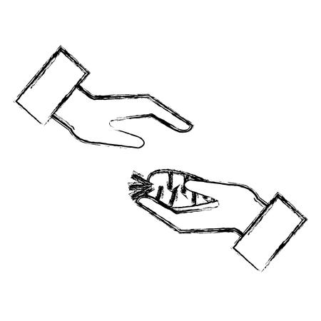 hand with carrot fresh vector illustration design Ilustracja
